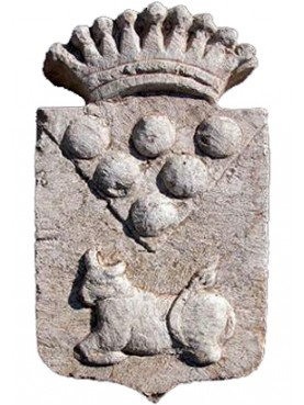 Medici's coat of arms in limestone