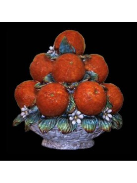 Orange basket pyramid with flowers