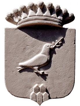 Stemma in pietra bianca - la colomba della pace