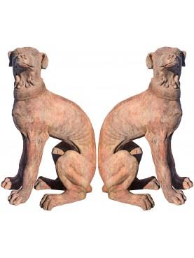 coppia di Cani versanti in terracotta