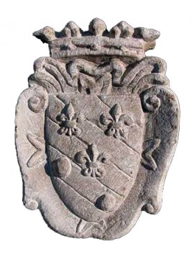 Coat of arms crowned with 3 lilies limestone