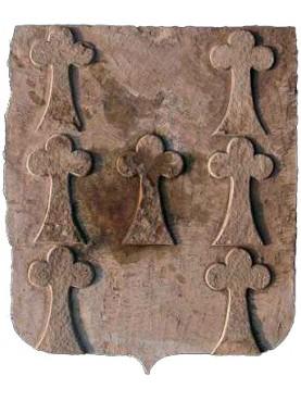 Stemma in pietra serena con sette fregi