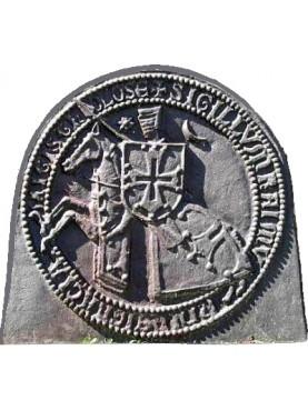 Cast iron fireback templar knight's horseback