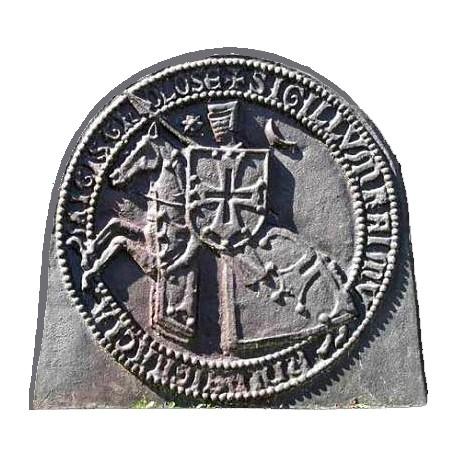 Cast iron fireback templar knight horseback Sigillum Raimundi