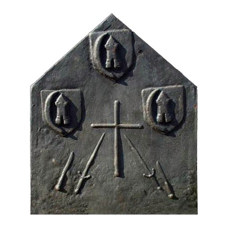 Cast iron fireback French family crusades