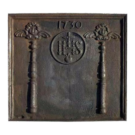 Fireback Cast iron with IHS and angels