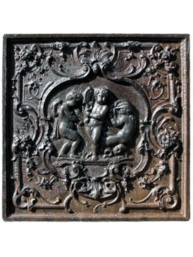 castiron Fireback three putti