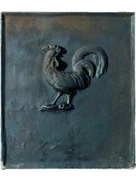 Cast iron fireback with cock