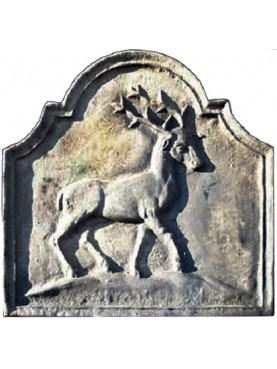Cast iron fireback with deer