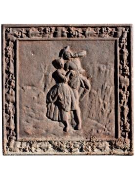 Lastra in ghisa per camino antica Dama e Gentiluomo