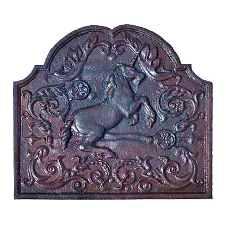 Lastra in ghisa per camino unicorno
