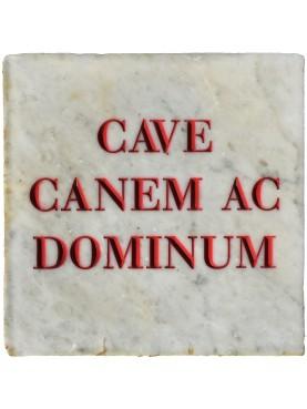 Gabriele D'Annunzio - CAVE CANEM AC DOMINUM - targa in marmo