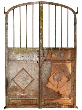 Antique forged iron gate with two doors