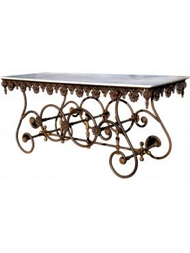 Tavolo francese in ferro e ghisa con piano in marmo bianco