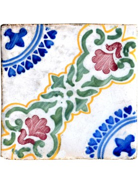 Ancient italian Majolica glazed tiles
