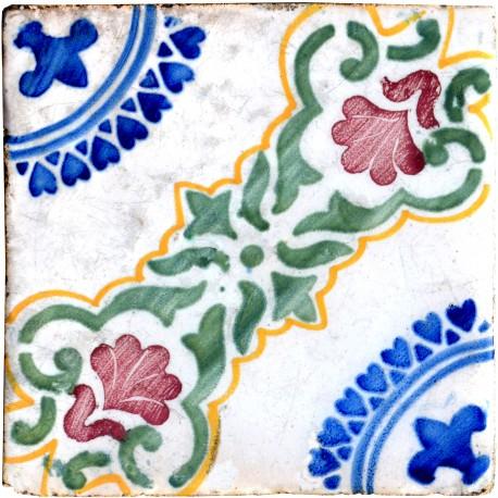 Ancient italian Majolica glazed tiles