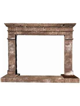 Sardinian basaltic stone simple fireplace in six pieces