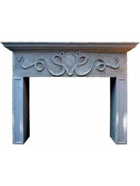 Fireplace French limestone - coat of arms with flourishes