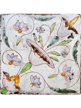 Ancient Neapolitan flowered majolica tile - liberty