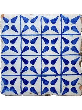 Piastrella di maiolica antica azzurra Tommaso Bruno