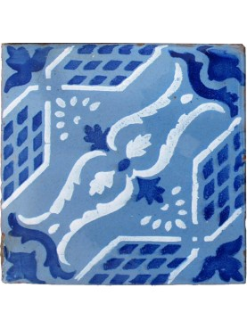 Majolica ancient tile cobalt blue