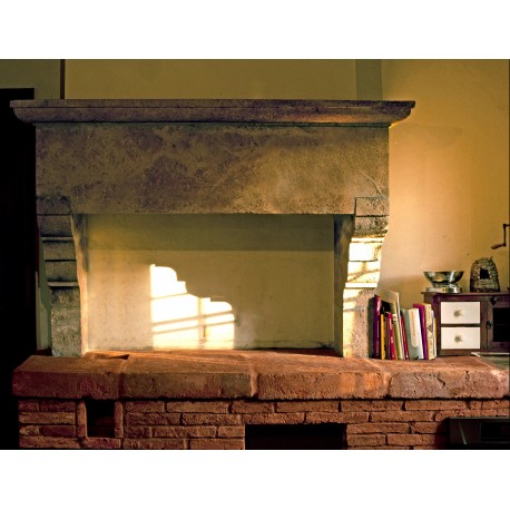 Fireplace for kitchen in limestone