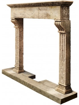 Large and high FIREPLACE in limestone