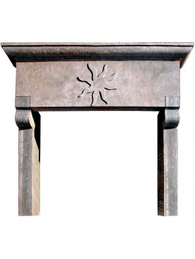 Fireplace with Etruscan sun hand-made for a dwelling in Maremma