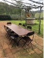 Rectangular forged iron table 220 cm with 8 cinemino chairs