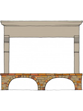 Lorenzo's stone fireplace - kitchen - 2,5 m. long
