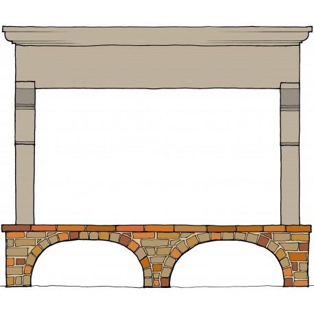 Lorenzo's stone fireplace - kitchen - 2,5 m. long