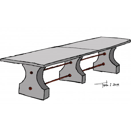 Tavolo in pietra da 3 a 4 m di lunghezza originale antico - tre gambe