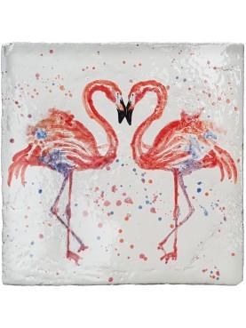 Tile 30x30 cm maiolica two Flamingos