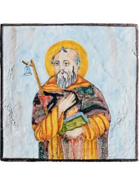 Sant' Antonio Abate piastrella di maiolica votiva