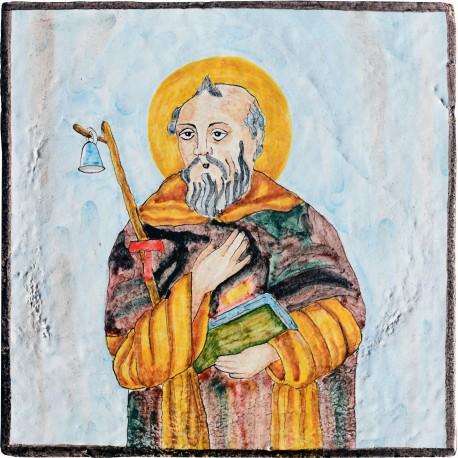 Saint Anthony the Great - votive majolica tile