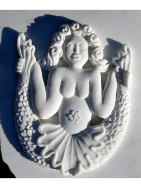 Bas-relief in statuary marble of two-tailed Mermaid of Spinete