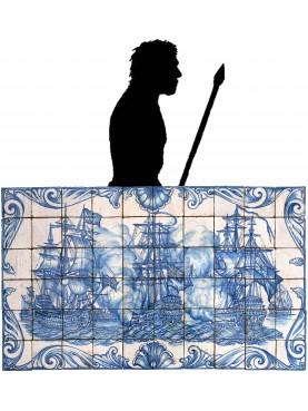 Pannello portoghese di 24 piastrelle maiolicate - coppia di navi