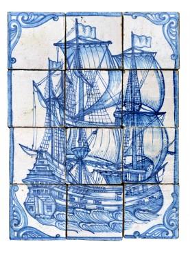 Pannello portoghese di 12 piastrelle maiolicate