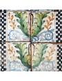 Piastrella di maiolica antica - cornice a foglie di Achantus