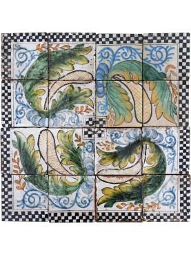 Ancient italian Majolica glazed panel - achantus leaves