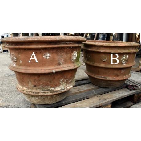 Pair of ancient Tuscan lemon Ø62cms pots in terracotta