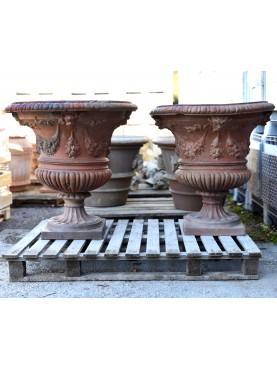 Pair of antique original Ricceri Impruneta vase
