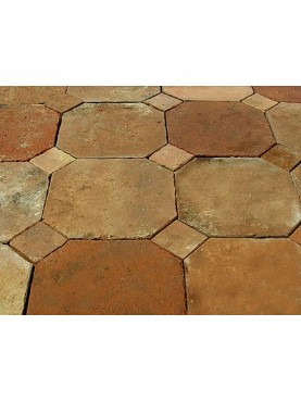 Octagonal terracotta tiles with marble or slate