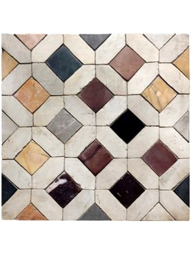 Basket floor in polychrome marbles with lozenge in white Carrara marble