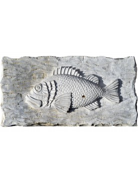 High relief in stone - Scorpaena scrofa hand-carved - red scorpionfish - Scorpaena scrofa