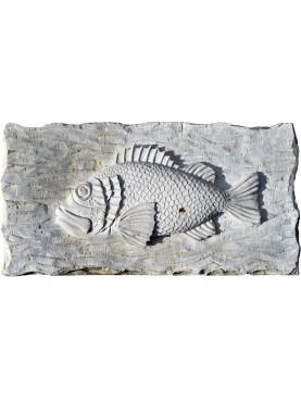 High relief in stone - Scorpaena scrofa hand-carved - red scorpionfish - Scorpaena scrofa