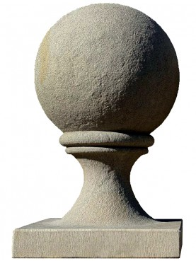 Sphere Ø38 cm with base 40x40 cm in gray sandstone - pietra serena