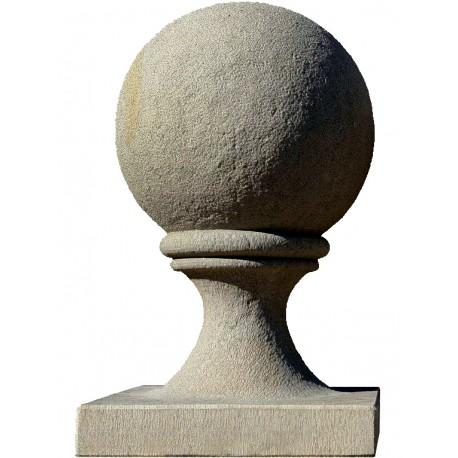 Sphere Ø38 cm with base 40x40 cm in gray sandstone - pietra serena