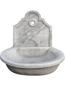 small Sink in white marble with small backsplash