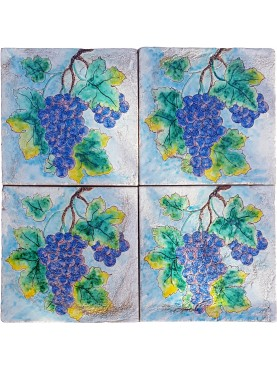 Maiolica panel with grapes